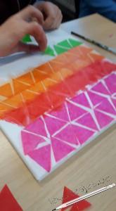 schilderen met zijdepapier