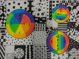 patronen bij kleurencirkel klokken
