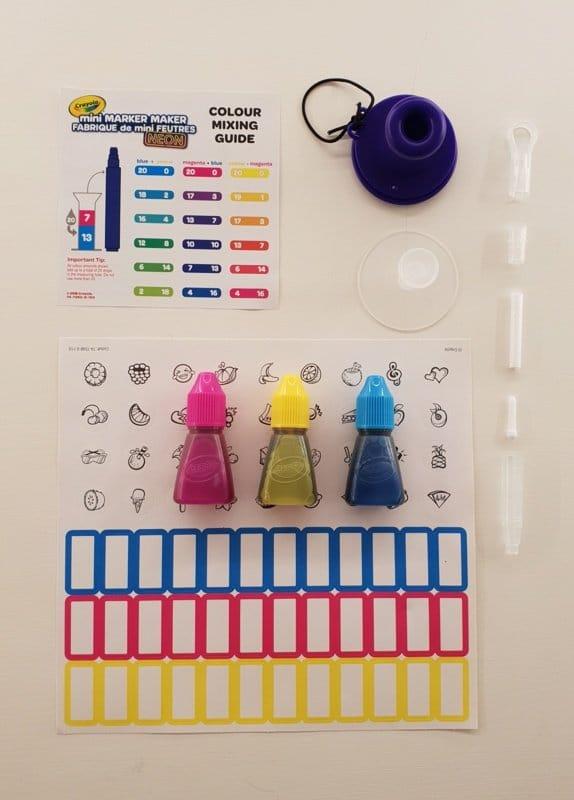 zelf stiften maken: inhoud crayola mini marker maker