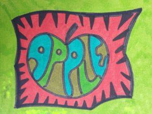 Beeldende les rond worm en woordbeeld - Pop-Art