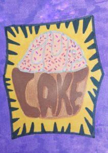 Cupcake woordkunst naar Burton Morris